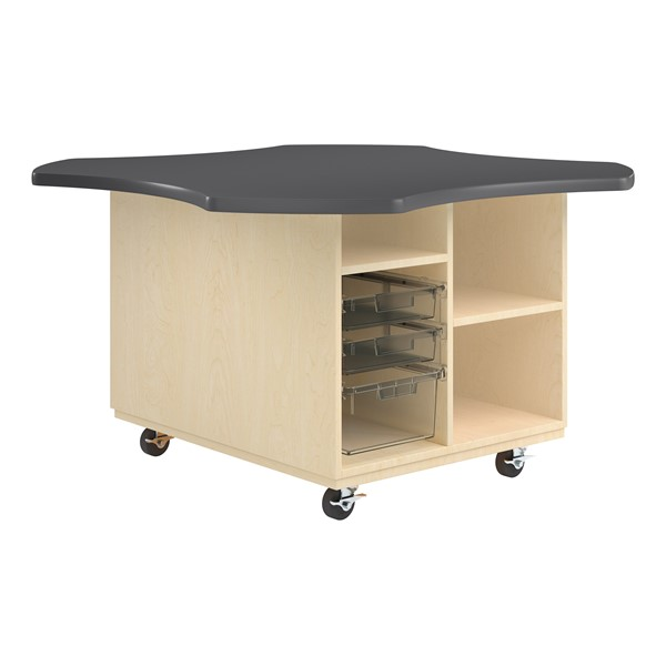 Intermix Mobile Workbench - charcoal edgeband and charcoal top laminate