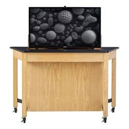 Mobile Media Trapezoid Table - TV not included