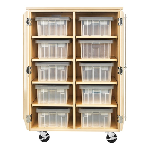 """Robotics Tote Mobile Storage Cabinet w/ VEX Label (36"""" W x 24"""" D x 53"""" H) - Totes not included"""