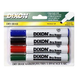 Wedge Tip Dry Erase Markers - Assorted Colors - 4 Count