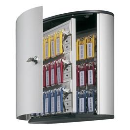 Contemporary Brushed Aluminum Key Box Cabinet - Holds 36 Keys