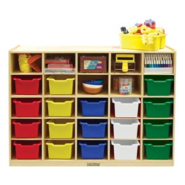 25-Tray Cubby Unit w/ Colorful Trays - Accessories not included