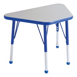 Trapezoid Learning Table - Toddler Height - Gray Nebula top & blue edge band, legs & ball glides