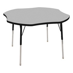 "Clover Adjustable-Height Preschool Activity Table (48"" W x 48"" L) - Gray top & black edge band, legs & swivel glides"