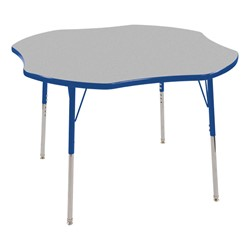 "Clover Adjustable-Height Preschool Activity Table (48"" W x 48"" L) - Gray top & blue edge band, legs & swivel glides"