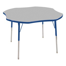 Clover Adjustable-Height Activity Table - Gray top w/ blue edge