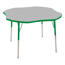 "Clover Adjustable-Height Preschool Activity Table (48"" W x 48"" L) - Gray top & green edge band, legs & swivel glides"