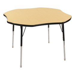 "Clover Adjustable-Height Preschool Activity Table (48"" W x 48"" L) - Maple top & black edge band, legs & swivel glides"