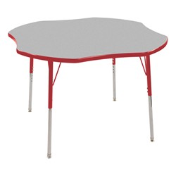"Clover Adjustable-Height Preschool Activity Table (48"" W x 48"" L) - Gray top & red edge band, legs & swivel glides"