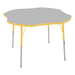 "Clover Adjustable-Height Preschool Activity Table (48"" W x 48"" L) - Gray top & yellow edge band, legs & swivel glides"
