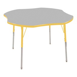 Clover Adjustable-Height Activity Table - Gray top w/ yellow edge