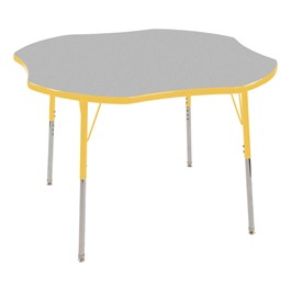 "Clover Adjustable-Height Preschool Activity Table (48"" W x 48\"" L) - Gray top & yellow edge band, legs & swivel glides"