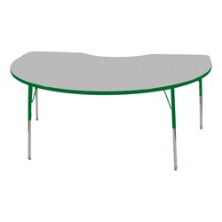 "Kidney Adjustable-Height Preschool Activity Table (48"" W x 72"" L) - Gray top & green edge band, legs & swivel glides"