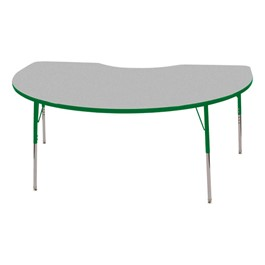 "Kidney Adjustable-Height Preschool Activity Table (48"" W x 72\"" L) - Gray top & green edge band, legs & swivel glides"