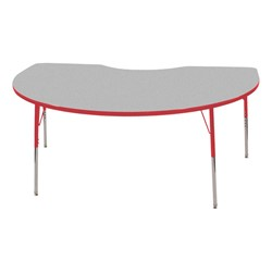 "Kidney Adjustable-Height Preschool Activity Table (48"" W x 72"" L) - Gray top & red edge band, legs & swivel glides"