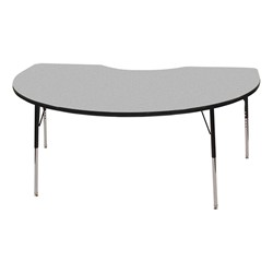 "Kidney Adjustable-Height Preschool Activity Table (48"" W x 72"" L) - Gray top & black edge band, legs & swivel glides"