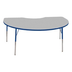 "Kidney Adjustable-Height Preschool Activity Table (48"" W x 72"" L) - Gray top & blue edge band, legs & swivel glides"