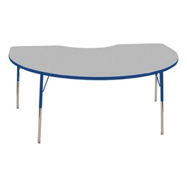 Kidney Adjustable-Height Activity Table - Gray top w/ blue edge