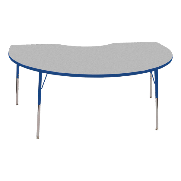 Kidney Adjustable Height Activity Table   Gray Top W/ Blue Edge