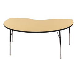 "Kidney Adjustable-Height Preschool Activity Table (48"" W x 72"" L) - Maple top & black edge band, legs & swivel glides"