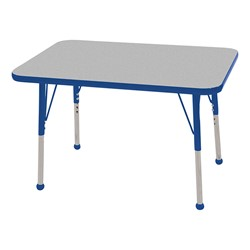 """Rectangle Color-Banded Adjustable-Height Preschool Activity Table (24"""" W x 36"""" L) - Gray Nebula top & blue edge band, legs & ball glides"""