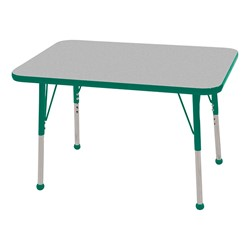 """Rectangle Color-Banded Adjustable-Height Preschool Activity Table (24"""" W x 36"""" L) - Gray Nebula top & green edge band, legs & ball glides"""