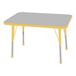 """Rectangle Color-Banded Adjustable-Height Preschool Activity Table (24"""" W x 36"""" L) - Gray Nebula top & yellow edge band, legs & ball glides"""