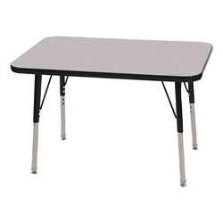 "Rectangle Adjustable-Height Activity Table (36"" W x 24"" D) - Gray top w/ black edge"