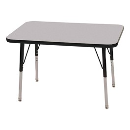 "Rectangle Adjustable-Height Activity Table (36"" W x 24\"" D) - Gray top w/ black edge"