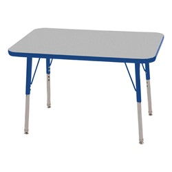 "Rectangle Adjustable-Height Activity Table (36"" W x 24"" D) - Gray top w/ blue edge"