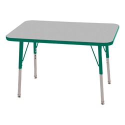 "Rectangle Adjustable-Height Activity Table (36"" W x 24"" D)- Gray top w/ green edge"
