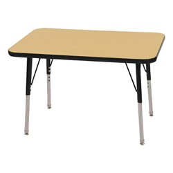"Rectangle Adjustable-Height Activity Table (36"" W x 24"" D) - Maple top w/ black edge"