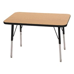 """Rectangle Color-Banded Adjustable-Height Preschool Activity Table (24"""" W x 36"""" L) - Oak top & black edge band, legs & swivel glides"""