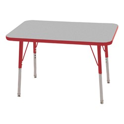 "Rectangle Adjustable-Height Activity Table (36"" W x 24"" D) - Gray top w/ red edge"