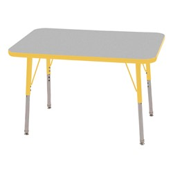 "Rectangle Adjustable-Height Activity Table (36"" W x 24"" D) - Gray top w/ yellow edge"
