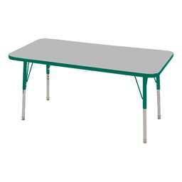 Rectangle Adjustable-Height Activity Table - Gray top w/ green edge