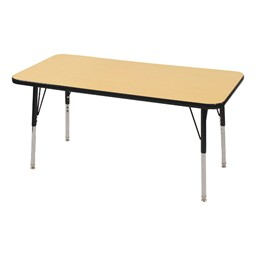 Rectangle Adjustable-Height Activity Table - Maple top w/ black edge