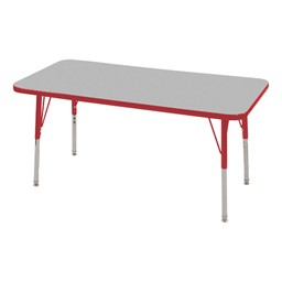 Rectangle Adjustable-Height Activity Table - Gray top w/ red edge