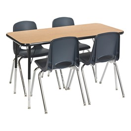 Rectangular Preschool Matching Table & Chair Set - Oak Top, Black Edge, Navy Chairs