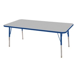 "Rectangle Adjustable-Height Preschool Activity Table (24"" W x 60"" L) - Gray top & blue edge band, legs & swivel glides"