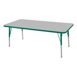 "Rectangle Adjustable-Height Preschool Activity Table (24"" W x 60"" L) - Gray top & green edge band, legs & swivel glides"