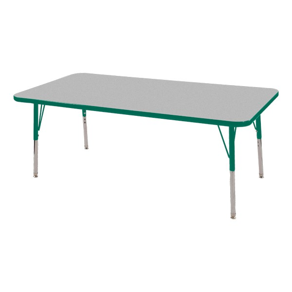 "Rectangle Adjustable-Height Activity Table (60"" W x 24"" D) - Gray top w/ green edge"