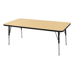 "Rectangle Adjustable-Height Preschool Activity Table (24"" W x 60"" L) - Maple top & black edge band, legs & swivel glides"