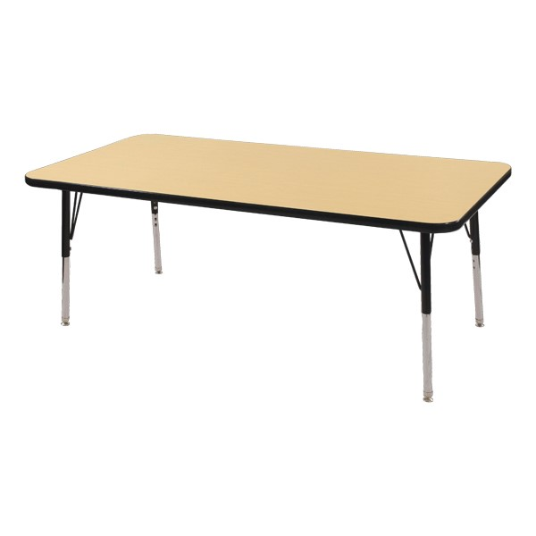 "Rectangle Adjustable-Height Activity Table (60"" W x 24"" D) - Maple top w/ black edge"