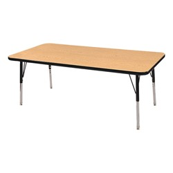 "Rectangle Adjustable-Height Activity Table (60"" W x 24"" D) - Oak top w/ black edge"