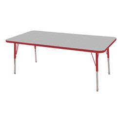 "Rectangle Adjustable-Height Preschool Activity Table (24"" W x 60"" L) - Gray top & red edge band, legs & swivel glides"