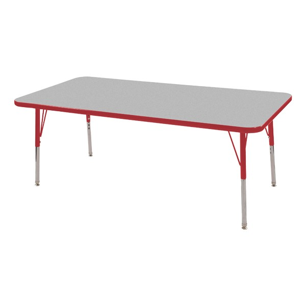 "Rectangle Adjustable-Height Activity Table (60"" W x 24"" D) - Gray top w/ red edge"