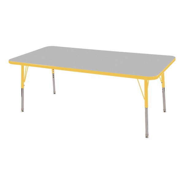 "Rectangle Adjustable-Height Activity Table (60"" W x 24"" D) - Gray top w/ yellow edge"