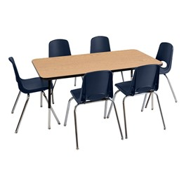"Rectangular Preschool Matching Table & Six Chairs (30"" W x 60\"" L) - Maple Top, Black Edge, Navy Seat"