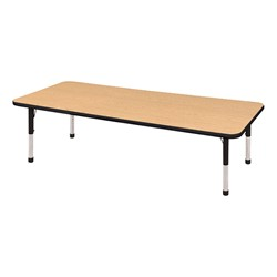 "Rectangle Color-Banded Adjustable-Height Preschool Activity Table (30"" W x 72"" L) - Oak top & black edge band & chunky legs"